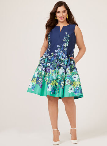 Floral Print Fit & Flare Sleeveless Dress, Blue, hi-res