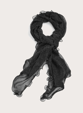 Ruffled Glittery Scarf, Black, hi-res