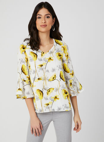 Floral Print Bell Sleeve Blouse, Yellow, hi-res,
