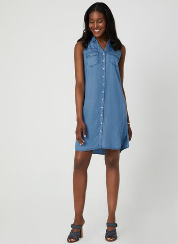 Sleeveless Shirt Dress, Blue, hi-res