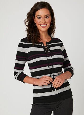 Stripe Print Sweater, Purple, hi-res
