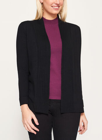 Pleated Collar Open Front Cardigan, Black, hi-res