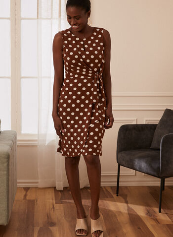 Polka Dot Print Dress, Brown,  spring summer 2021, dresses, made in Canada, dotted, polka dot, sleeveless, tie detail, knot detail, wrap, scoop neck, key hole, zipper back,