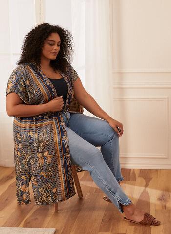 Paisley Kimono Duster, Blue,  spring summer 2021, kimono, paisley, border, print, style, duster, cardigan, tunic, short sleeve, tie closure, open front