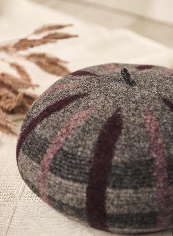 Béret en laine à motif de carreaux, Gris,  automne 2021, accessoires, chapeaux, béret, semi-structuré, laine, chaud, motif, carreaux, imprimé, effet ombré