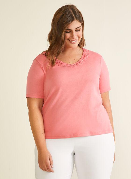 T-shirt en coton à col en dentelle, Orange
