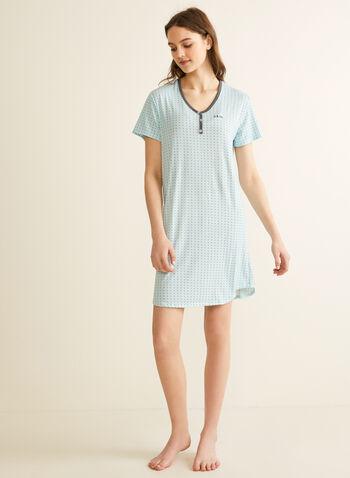 Comfort & Co. - Printed Nightshirt, Blue,  sleepwear, nightshirt, polka dot, stretchy, v-neck, buttons, short sleeves, spring summer 2020