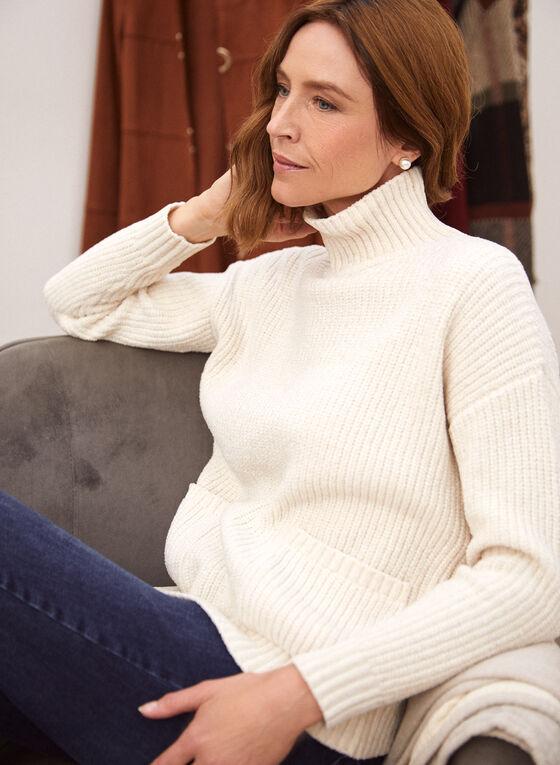 Mock Neck Chenille Sweater, Off White