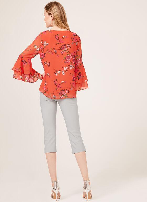 Blouse fleurie à manches cloche ¾ volantées, Orange, hi-res