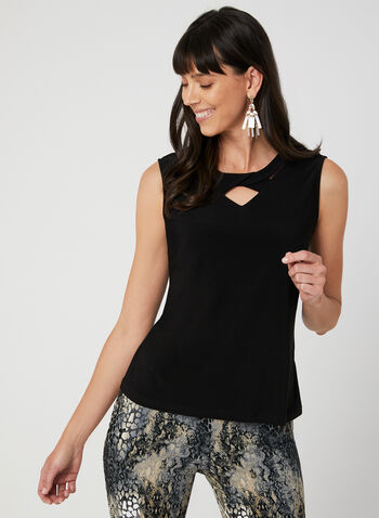 Twist Neck Sleeveless Top, Black, hi-res