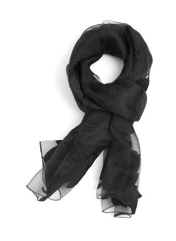 Oblong Floral Appliqué Wrap, Black, hi-res