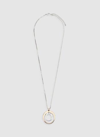 Collier à double cercle, Jaune, hi-res,  collier, cercle, double, métal, automne hiver 2019