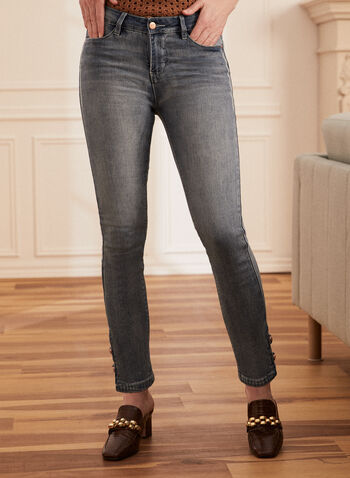 Jeans jambe étroite à broderies, Bleu,  jeans, jambe étroite, denim, coton, poches, broderies, boutons, extensible, fermeture éclair, printemps été 2021