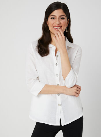 Mode de Vie - Linen Tunic Blouse, White, hi-res,  ¾ sleeve, 3/4 sleeve, button down, spring 2019