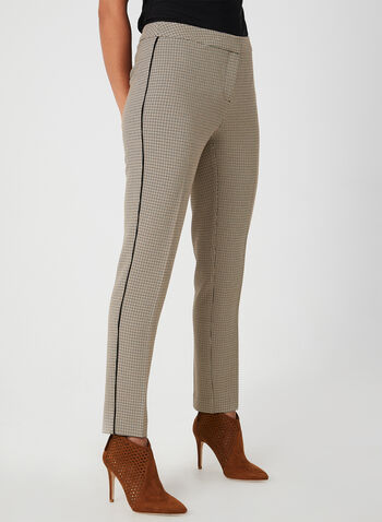 Houndstooth Print Pants, Brown,  woven pants, fall winter collection
