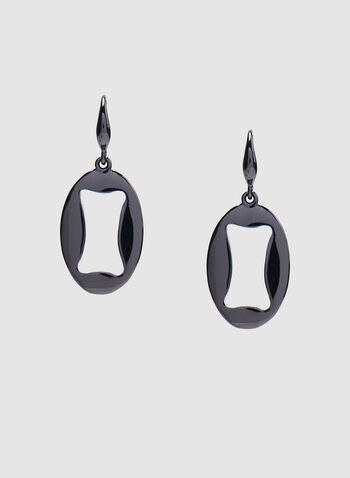 Oval Cut Dangle Earrings, Grey, hi-res