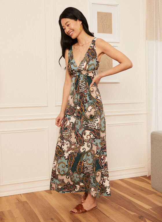 Paisley Print Maxi Dress, Blue