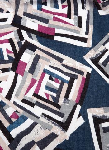 Foulard motif mosaïque à franges, Bleu, hi-res