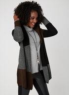 Colour Block Knit Cardigan, Black, hi-res