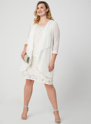 Glitter Lace Dress & Chiffon Duster, Off White, hi-res,  embellished neckline, sleeveless, midi dress, spring 2019, summer 2019