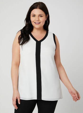 Contrast Trim Sleeveless Blouse, Off White, hi-res
