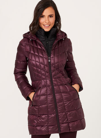 B by Bernardo - Lightweight Packable Down Coat , Red, hi-res