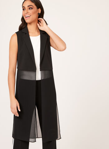 Picadilly - Sleeveless Chiffon Embellished Vest, Black, hi-res