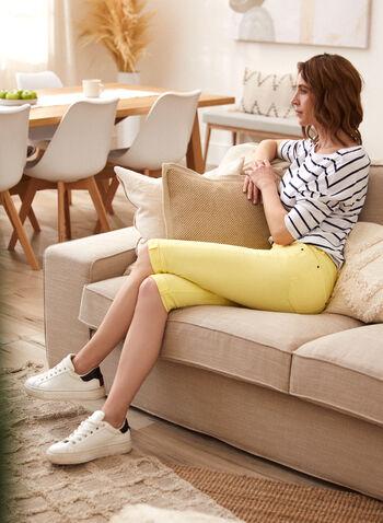Charlie B - Cuffed Capri Pants, Yellow,  spring summer 2021, bottoms, capris, zipper, slim fit, rolled cuffs,