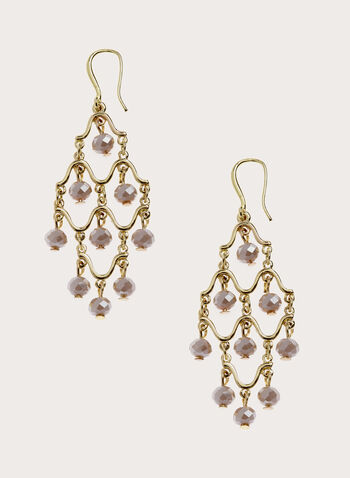 Faceted Bead Chandelier Earrings, Off White, hi-res