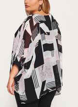 3/4 Sleeve Poncho Blouse, Black, hi-res