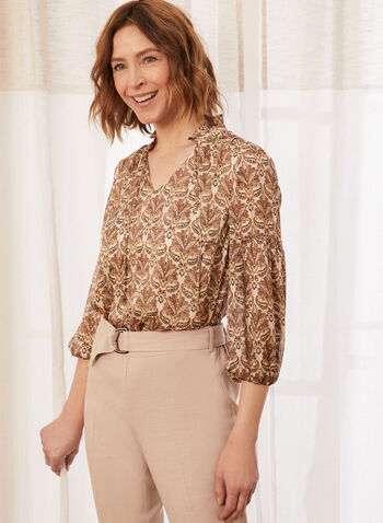 Paisley Print Balloon Sleeve Blouse, Beige,  spring summer 2021, blouse, popover, paisley, print, inverted collar, v neck, tie detail, shimmer, lurex, top, balloon sleeve, 3/4 sleeve
