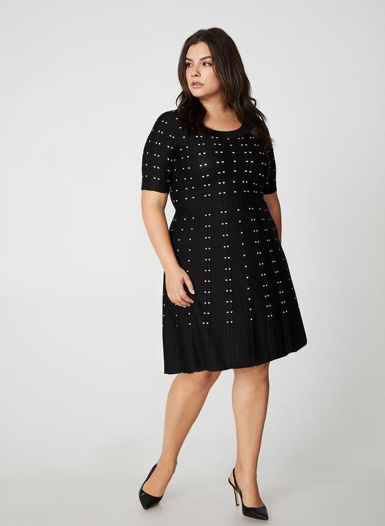 Fit & Flare Knit Dress, Black