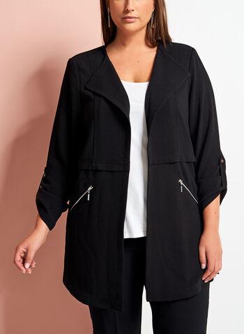 Open Front Zipper Trim Crepe Jacket, , hi-res