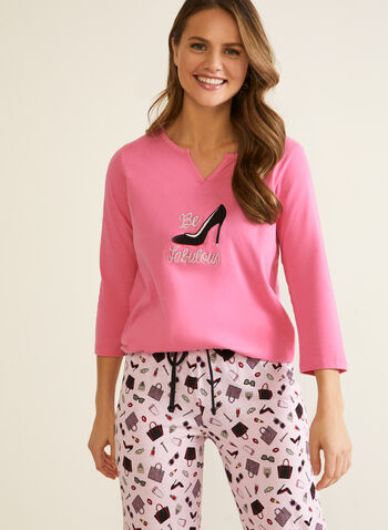 Fashion Motif Pyjama Set, Pink,  fall winter 2020, pj, pyjama, set, sleepwear, shirt, pants, elastic, drawstring, straight leg, shopping, fashion, motif, pattern, printed, embroidered, comfort, stretch, holiday, gift, two-piece