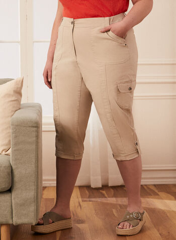 Cargo Capris With Pockets, Off White,  capris, cargo, pockets, rolled hems, spring summer 2020