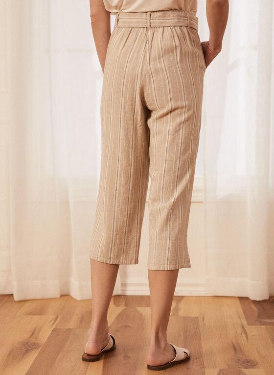 Stripe Print Gaucho Pants, Brown