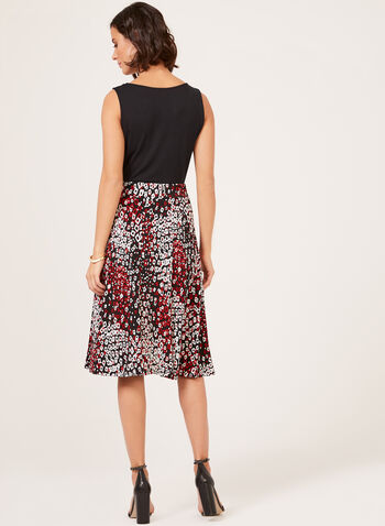 Geometric Print Gored Pull-On Skirt, Black, hi-res