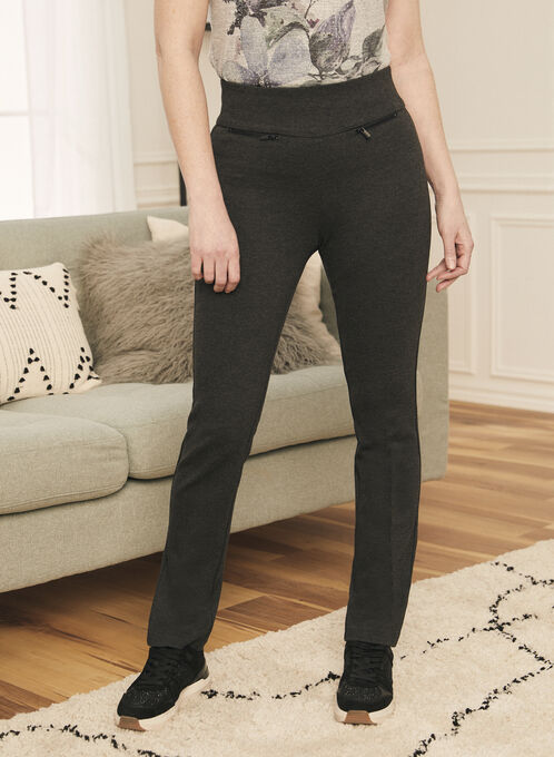 Straight Leg Pull-On Pants, Grey