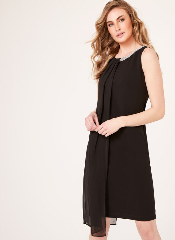 Draped Chiffon Detail Sheath Dress, Black, hi-res