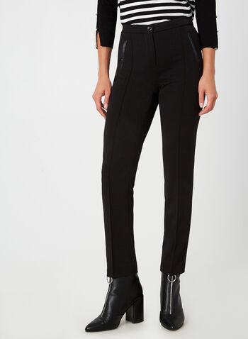 Pantalon coupe signature à jambe droite, Noir, hi-res,  pantalon, signature, jambe droite, fausses poches, pinces, automne hiver 2019