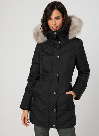Anne Klein - Stand Collar Down Coat, Black, hi-res