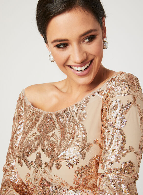 Off The Shoulder Sequin Dress, Off White, hi-res