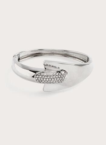 Bracelet rigide asymétrique avec strass, Argent, hi-res
