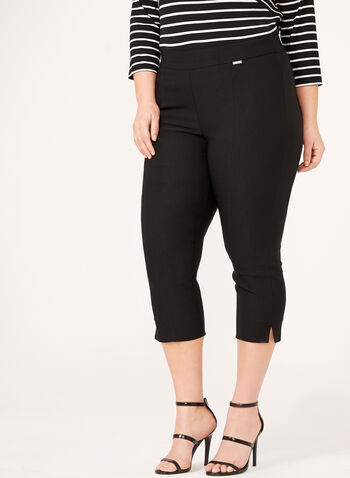 Pull-On Straight Leg Bengaline Capri Pant, Black, hi-res
