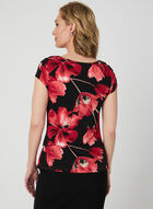 Floral Print Draped Top, Black, hi-res