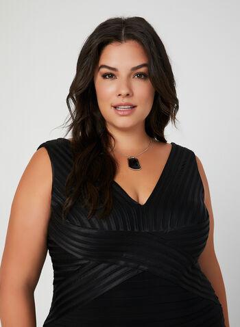 Plunging Neckline Cocktail Dress, Black,  plissé skirt, v-neck cocktail dress