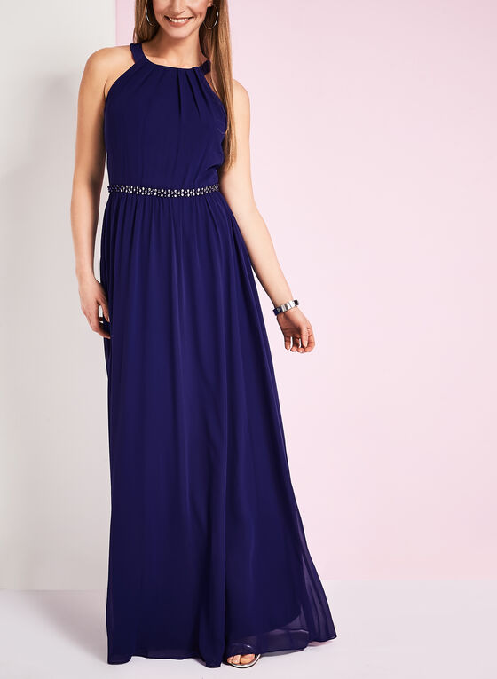 Tuck Neck Beaded Waist Gown, Blue, hi-res