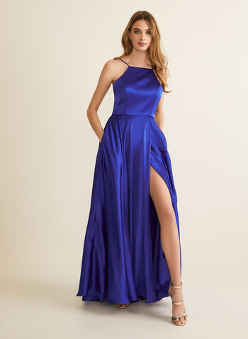 Apron Neck Satin Dress, Blue,  prom dress, a-line, gown, apron neck, lace-up, satin, pockets, lined, full length, spaghetti straps, spring summer 2020