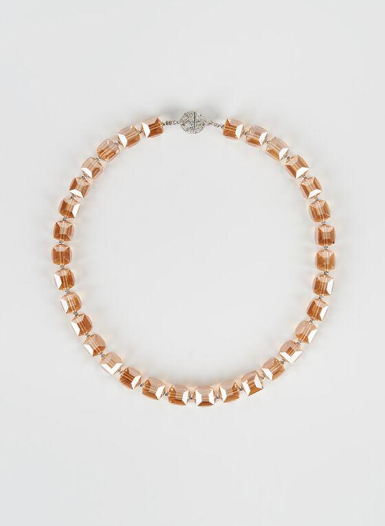 Collier ras-de-cou à perles et cubes, Blanc cassé, hi-res