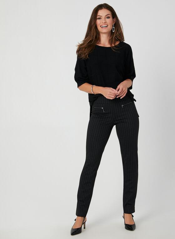 Stripe Print City Fit Pants, Black